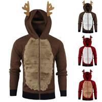 Men Xmas Jumper Hoodie Novelty Elf Reindeer Christmas Sweater Hooded Jacket Coat