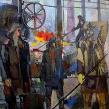 '62 Socialist Realism Painting METAL FACTORY WORKERS Soviet Russian ARMENIAN art