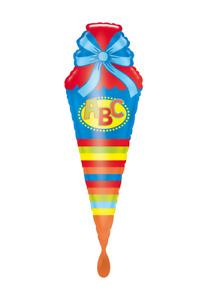 XXL Helium Ballons, Schulanfang, ABC, Folienballon, passende Glückwunschkarte