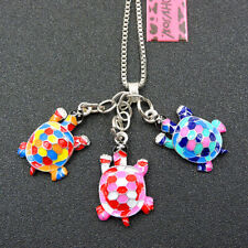 New Colorful Enamel Tortoise Animal Betsey Johnson Pendant Necklace Chain