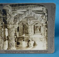1903 Indian Stereoview Photo Worshippers At Temple Of Vimala Sab Mount Abu India