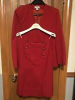 Vintage Claude Bert Paris Red Suit Skirt Jacket 100 % Wool Sz 36 France