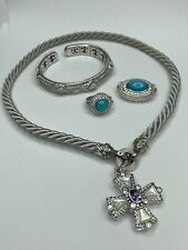 Judith Ripka Sterling Silver Jewelry Turquoise Ring Necklace Cross Bracelet LOT✨