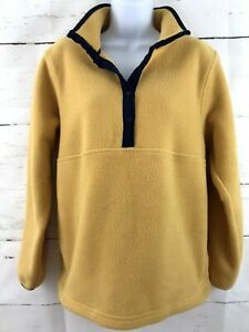 Women's L.L. Bean Fleece Jacket Small  Yellow with Navy Trim Snap Up Pockets