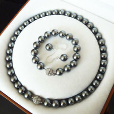 10mm South Sea Black Shell Pearl Round Beads Necklace Bracelet Earrings Set AAA+