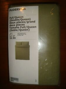 Ikea LINEN Duvet Quilt Cover Set Olive Green Flex Twin Full (Double) Queen King