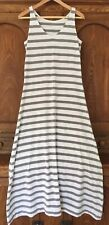 Garnet hill gray white striped cotton rayon jersey tank T maxi dress XS S M 6 8