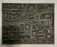 Vintage Print Block The O'Hare Area O'Hare Airport Map Plane Illinois