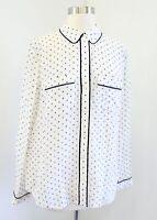 NWT Ann Taylor Ivory Blue Black Geometric Print Silk Blouse Size M Button Front