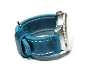 Vintage leather watch band 22-26mm Blue, Thick soft watch strap, Handmade Custom