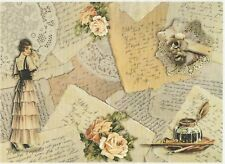 Carta di riso per Decoupage Decopatch Scrapbook Craft sheet VINTAGE LETTERE D'AMORE