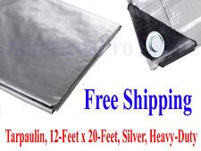 Tarpaulin, 12-Feet x 20-Feet, Silver, Heavy-Duty