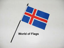 """ICELAND SMALL HAND WAVING FLAG 6"""" x 4"""" Icelandic Table Desk Crafts Display"""