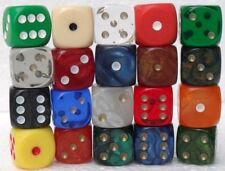 """20 dadi - """"vari tipi e colori 6 facce"""" - 15 mm."""