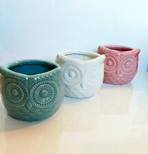 Ceramic Owl Planters Pot Garden Outdoors Set of 3 Turquoise Pink White