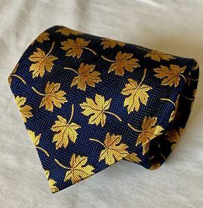 Robert Talbott Tie. Nordstrom Best of Class. Navy w Gold Leaves. Silk.