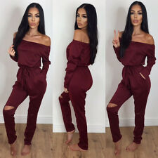 UK Womens Off Shoulder Long Sleeve Ripped Playsuits Ladies Casual Long Jumpsuit