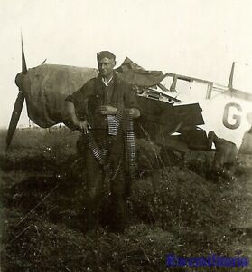 **RARE! Luftwaffe Airman w/ Amm0 belts by Me-109 Fighter Plane on Airfield!!!**