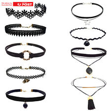 Short Choker Necklace Retro Gothic Chain Suede String Wrap Tie Velvet Pack Of 9