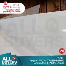 20 Fogli Carta Adesiva A4 PVC Pellicola vinile Trasparenti Per Stampa Laser PVC