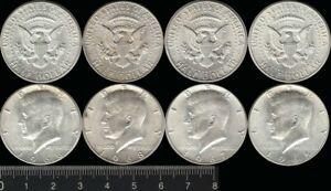 USA: Silver 1965, 66, 67 & 68 Half Dollars President JF Kennedy  (4)