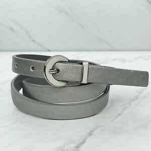 Kenneth Cole Reaction Silver Skinny Vegan Faux Leather Belt Size Medium M 32 34