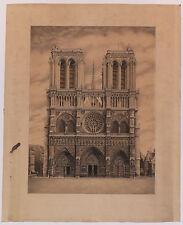 Paris Notre-Dame Dessin à la plume pen and ink drawing 1928