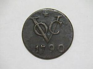 NETHERLANDS EAST INDIES 1790 VOC 2 DUIT LOW GRADE WORLD COIN UTRECHT 🌈⭐🌈