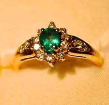 Emerald Engagement & Wedding Ring Sets with Diamonds