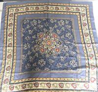 VTG Silk Square Scarf Head Wrap 100% Silk Floral Hearts Vintage Korea Large