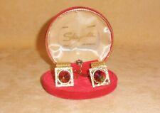 Beautiful Faceted Rivoli & Gold Mesh Cufflink & Tie Tac Schiaparelli Set in Box