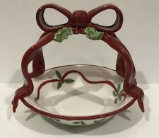 Noble Excellence Holly Bells Handled Basket Christmas Collectible