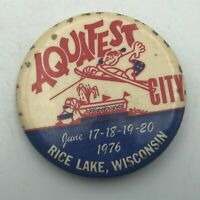 "1976 RICE LAKE Wisconsin Aquafest Cool Graphics 2-1/4"" Button Pin Pinback Vtg E7"