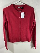 Women's Arizona Red Angora Knitted Button Front Cardigan Sweater Size Large Nwt