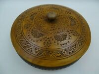 Carved Wooden Bowl With Lid Trinket Keys Dish