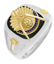 New Customizable Solid Back Men's Two Tone Silver Gold Masonic Past Master Ring