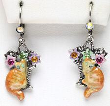 KIRKS FOLLY TIGER RED CAT EARRINGS silvertone