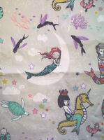 Mermaid Seahorse Nouveau Girls Nautical Grey Ocean Cotton Fabric 140 X 50