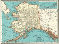 1935 Antique ALASKA State Map Vintage 1930s Map of ALASKA Gallery Wall Art 8216