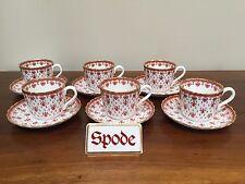 "Spode FLEUR DE LYS Red Bone China 2 ½"" Flat Cup & Saucer ~  Set of 6 (Lot 2)"