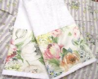 RALPH LAUREN FABRIC custom Decorated Hand Towels /2 on WHITE PINK FLORALS