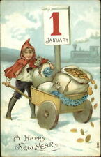 New Year - Child w/ Wagon Filled w/ Coins Money c1910 Postcard