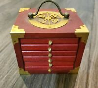 Wood and Brass Red Drawers of Cork Coasters Set of 6 Barware Home Decor