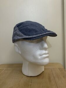 BNWT TED BAKER DENIM NAVY AND GREY COTTON FLAT CAP SIZE M/L