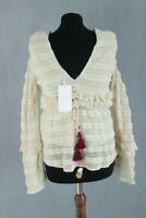 ZARA TRAFALUC BNWT beige v-neck lacy casual summer woman top blouse size EU S