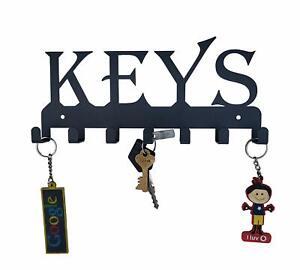 Keys Black Metal Wall Mounted Key Holder Steel Key Rack Wall Décor Keys Holder