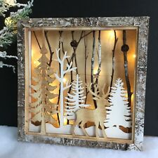 Reindeer in Froest Light Up Box Christmas Decoration Pinecone Tree Gisela Graham