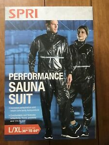 "SPRI L/XL Performance Sauna Suit Fit L/XL Fit Waist Size 36"" To 44"" NEW IN BOX!"