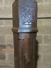 ~ ANTIQUE CARVED WALNUT NEWEL POST 48.5 TALL ~  ARCHITECTURAL SALVAGE ~