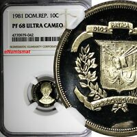 DOMINICAN REPUBLIC PROOF 1981 10 Centavos NGC PF68 ULTRA CAMEO KM# 50